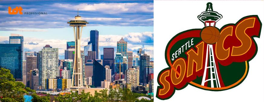 La aguja espacial y logo del equipo NBA de Seatle