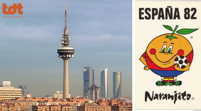 Skyline de Madrid con Torreespaña y Naranjito