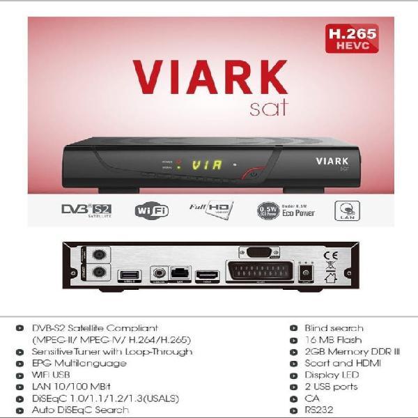 Receptor Satélite HD VIARK SAT con especificaciones
