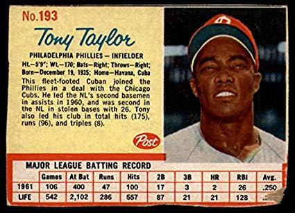 Tony Taylor bateador de los Philadelphia Phillies