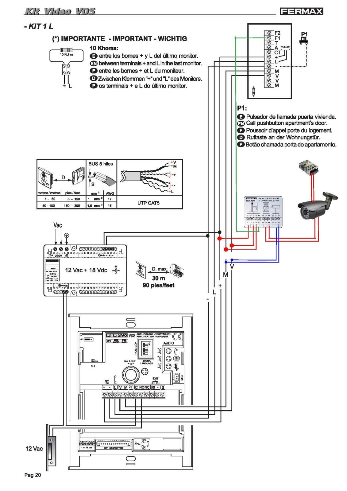 C mo conectar videoportero con cable utp blog de for Telefonillo fermax esquema