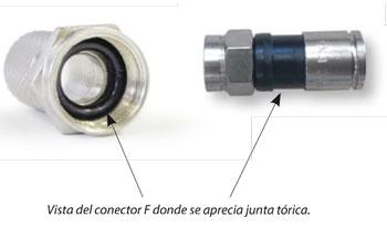 Conector F con junta Torica