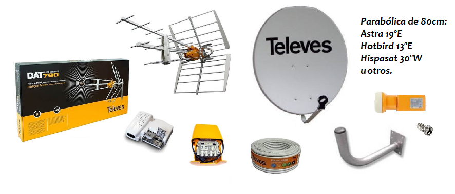 Kit completo para instalación de TDT y satélite
