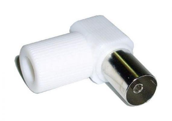 Conector coaxial CEI hembra acodado blanco