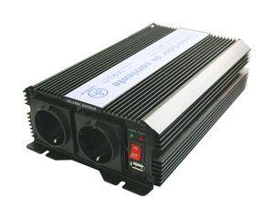 Inversor Corriente 12VDC - 230VAC 1000W 2 Schukos + USB
