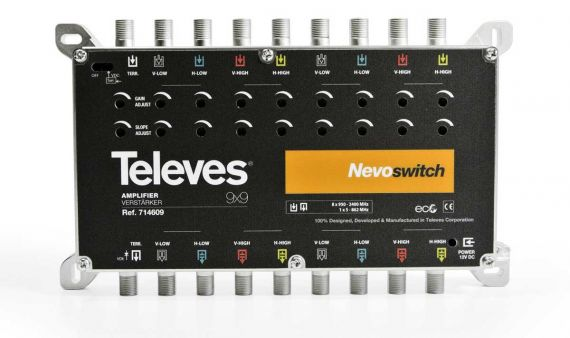"Amplificador Nevoswitch 9x9 ""F"" MATV/FI 27/25dB"