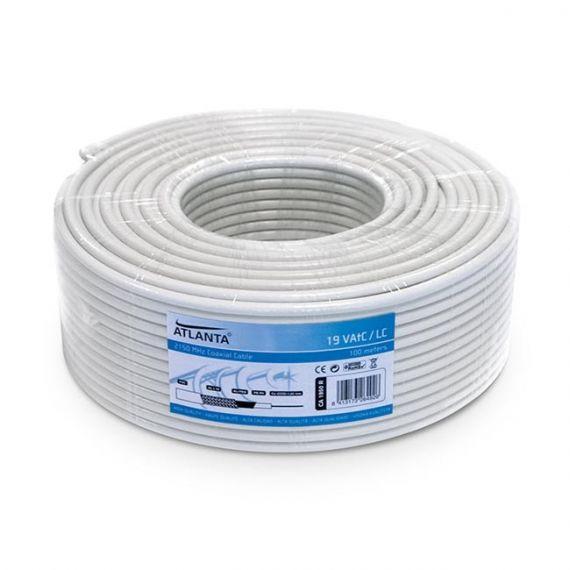 Cable Coaxial Cu/CCS Interior PVC Blanco (100m)