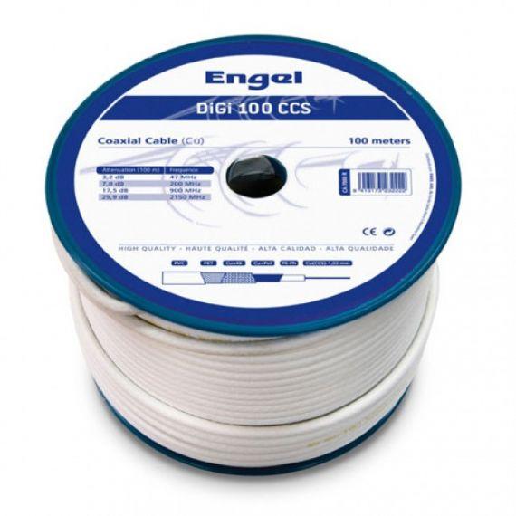 Cable Coaxial Cu/CCS DIGI-100CCS Interior PVC Blanco (100m)