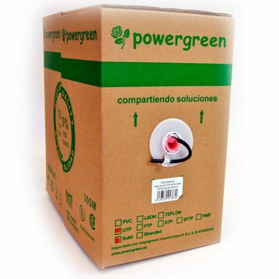 Cable UTP 5e Exterior Negro Powergreen CAB-05305-BEX