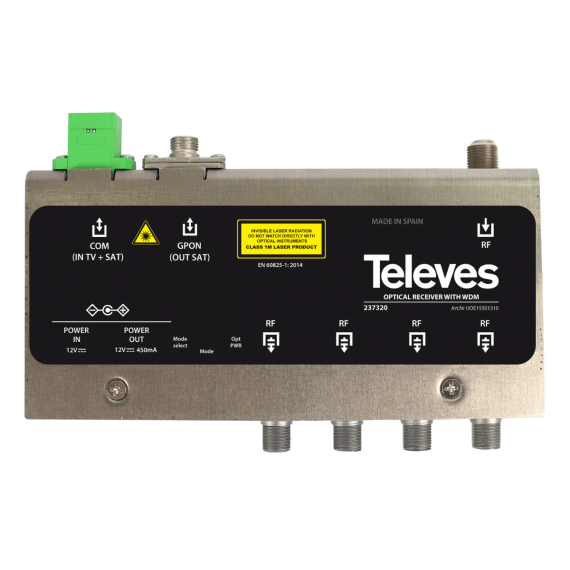 FTTH 1310/1550nm Optical Receiver with 4 RF Outputs