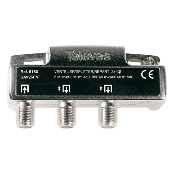 Internal splitter with connector F 2 outputs Televes 5150