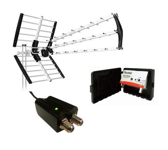 Kit TDT Antena BKM 18dB 5G con Amplificador Mástil y FA
