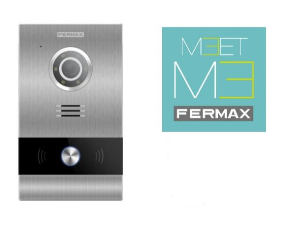 Fermax video panel kit with Milo 1W panel, flush-mounting box and power supply. Includes Meet Me license
