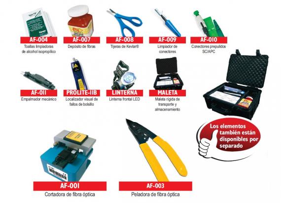 Kit de herramientas para empalmar fibras opticas