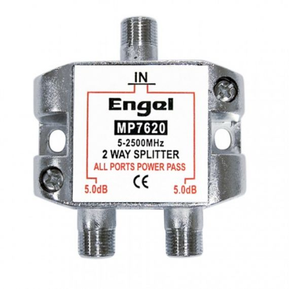 DTT-SAT F 2-Way Splitter 5dB DC pass Engel