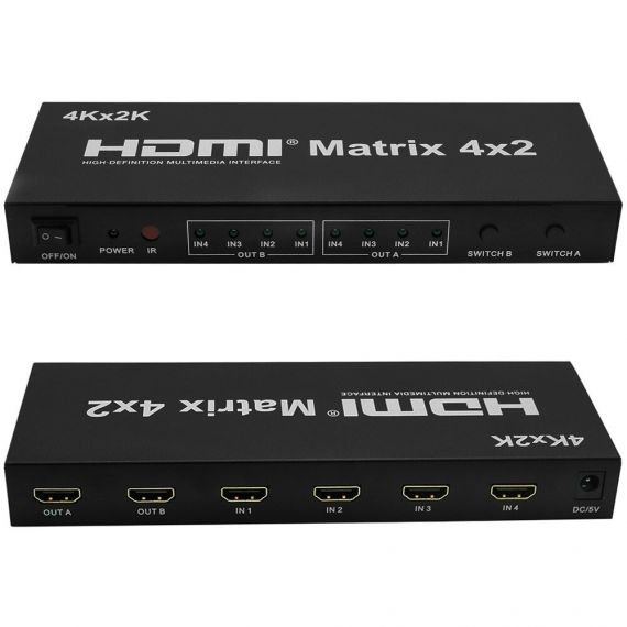 HDMI Matrix with 4 inputs and 2 outputs with remote