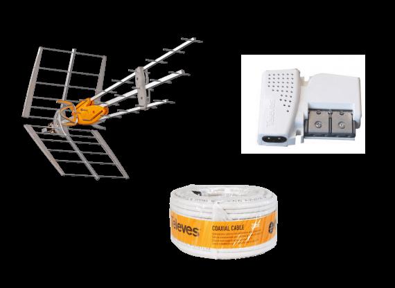 DTT DAT BOSS Kit 42dB LTE 5G + Power Supply + 20m Cable