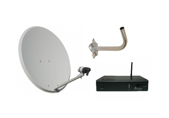 Satellite Dish Kit with LNB and Support + Cristor Atlas Receiver