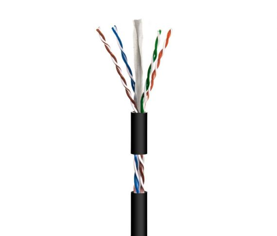 Cable UTP Cat 6 CCA Outdoor PE Black (100m)