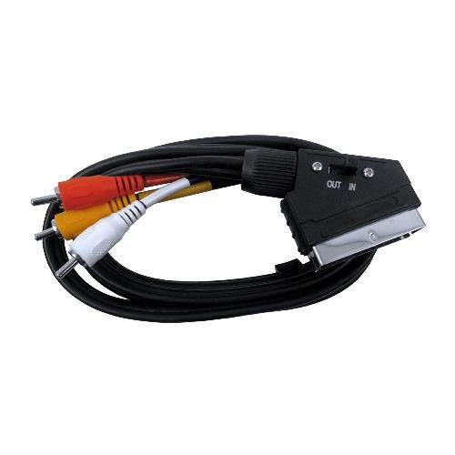 Cable Adaptador Euroconector de 21 pines a 3 RCA de 1.5m