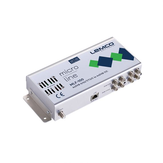 Lemco MLF-100 transmodulator (4 DVB-S/S2/T/T2/C to 4 DVB-T/C)