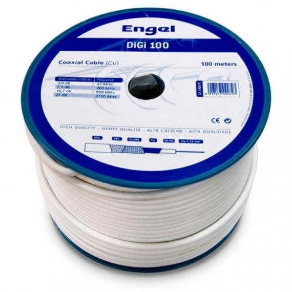 Cable Coaxial Cu/Cu DIGI-100 Interior PVC Blanco (100m)
