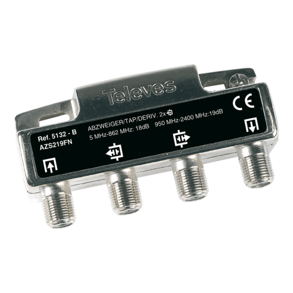 Derivador con conector F de 2 salidas (18 dB) 5132