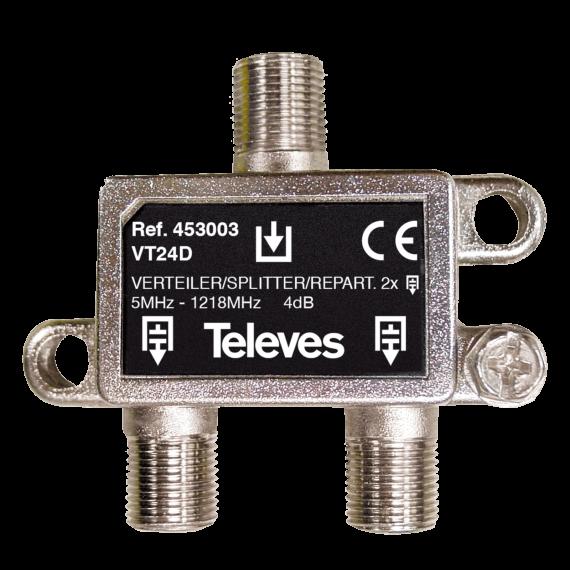 5-1218Mhz F Splitter 2D 4dB Docsis 3.1 Televes 453003