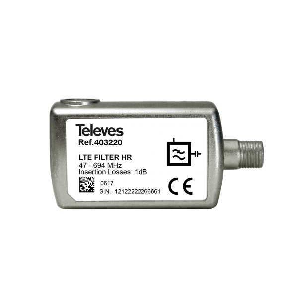 Indoor 5G LTE filter with F connector Televes 403220