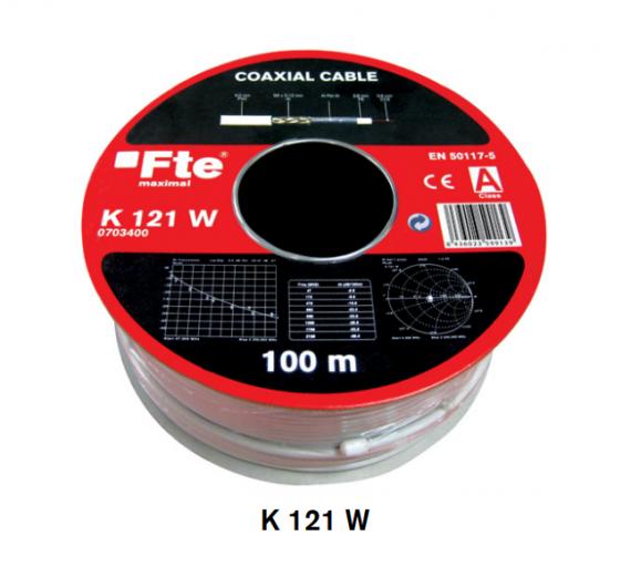 Cable Coaxial Interior Blanco CCS/Al 5mm FTE K 121 W 100m