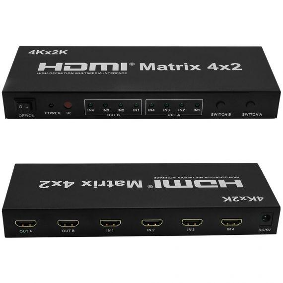 HDMI Matrix de 4 entradas y 2 salidas con mando