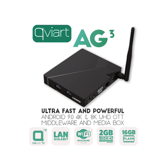 Receptor IPTV 4K Qviart AG3 Android 9.0 WiFi Negro