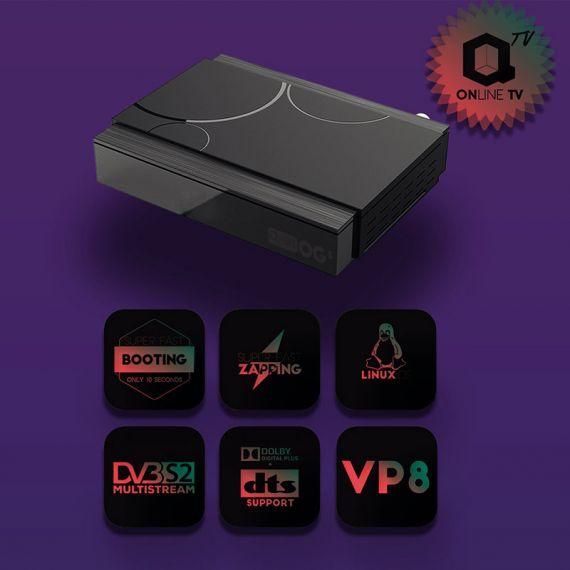 Receptor Satélite IPTV OTT Qviart OG S Full HD Linux CA