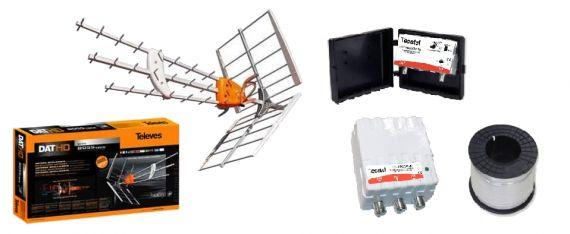 Kit de TDT Económico Ganancia 62dB + 20m Cable